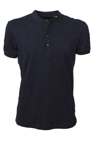 T-shirt-uomo-con-bottoni-piquet-navy